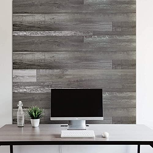 Urban Decor Vinyl Wall Panels with Vintage Farmhouse Wood Pattern, Easy Peel and Stick self Adhesive Tiles for Kitchen Bedroom Doorways 36in x 6in (12pcs/Box = 18sqft/Box) (Grey) backsplash Planks