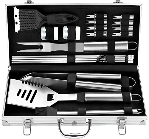 Romanticist 20pcs Utensili Barbecue in Acciaio Inox Set Barbecue - Heavy Duty...