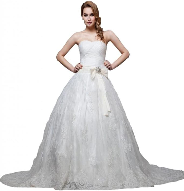 Scarlett Women's Strapless Princess Empire Lace Wedding Bridal Dress