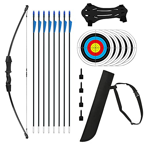 """Jenleestar 45"""" Bow and Arrow Set for Kids Youth Teens Archery Beginner Recurve Bows Kit for Outdoor Game Archery Bow Set with 8 Arrows, 5 Target Face, Arm Guard, Hunting Toy Gifts (Right/Left Handed)"""