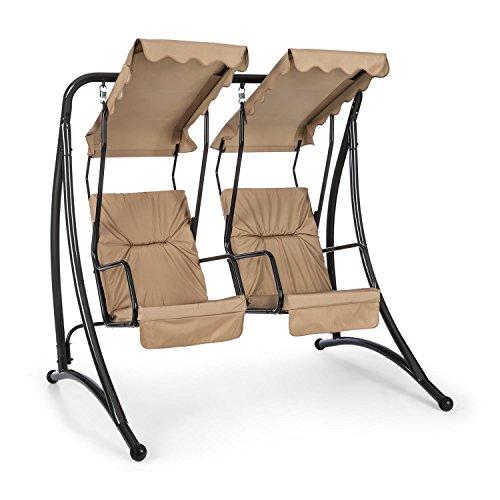 blumfeldt Skywalker - Hollywoodschaukel, Gartenschaukel, gemeinsames Schaukeln, Dicke Sitzpolsterung, 250 kg max Belastbarkeit, 2 Sitze, pulverbeschichtet, Edelstahl-Federaufhängungen