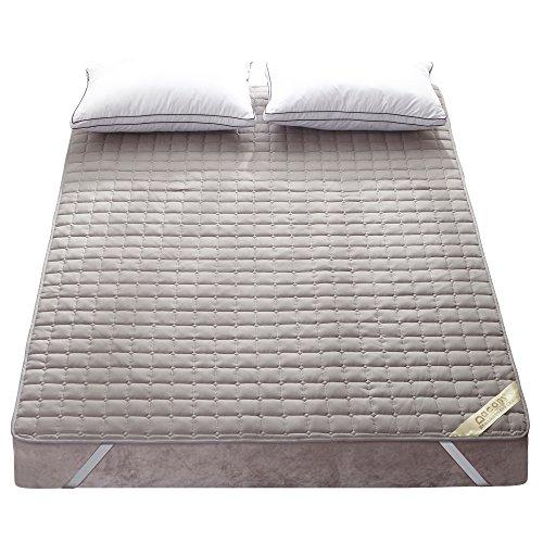 敷きパッド 綿100% 丸洗いできる ベッドシーツ 防ダニ 抗菌防臭 吸汗 速乾 ズレ防止ゴムバンド付き ベッドパッド マットレス・パッド グレー クイーン・160X200cm