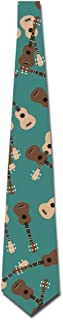 Man Ukulele Musical Green Pattern Novelty Necktie Business Skinny Tie For Wedding Prom Party