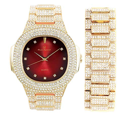 Bling-ed Out Oblong Case Metal Mens Watch w/Matching Bling-ed Out Bracelet Set - 8475B (Gold/Red)