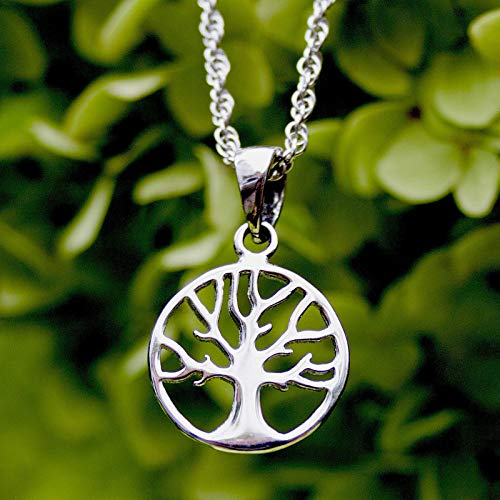 Tree of Life Yggdrasil Sterling Silver 925 Pendant with Rope Chain Necklace Handmade Viking Celtic Norse Irish Jewelry Good Luck Charm Family Amulet Talisman for Women Girls
