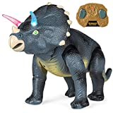 Best Choice Products 14.5-Inch RC Triceratops Play Toy w/ Light Up Eyes and Sounds