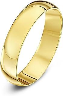 Anillo de Bodas de Oro Amarillo, Oro Blanco o Oro Rosa, 9k, Unisex, Forma de D Pesado, Pulido, 2-10mm