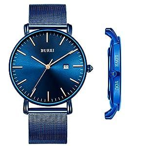 BUREI Men's Custom Personalized Watch Minimalist Ultra-Thin Wristwatch Analog Date with Leather Strap