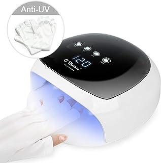 52W UV LED Nail Lamp, O'Vinna Nail Dryer Lamp Curing UV Gel Light for Fingernail Toenail Gels Polishes with Sensor, 4 Timer Setting 30S /60S /90S /120S (Anti-UV Gloves Offered)