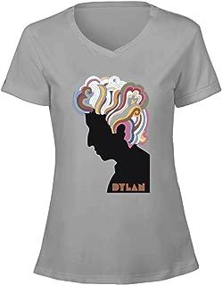 Womens Singer Songwriter Artist Dylan Bob V Neck Tee Shirt Cotton