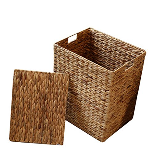Chang Jia Shi Pin Firm Brown color hand-woven storage basket straw-home wasmand deksel opbergmand Bruin