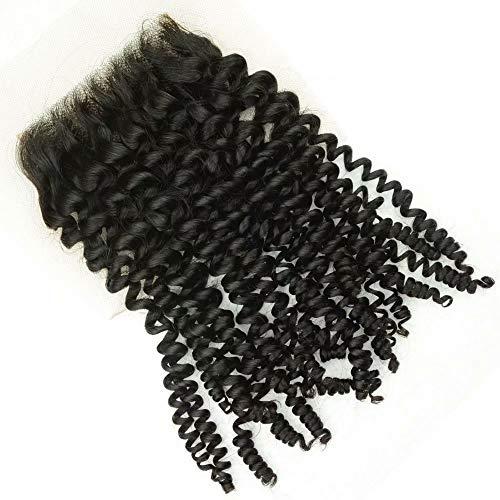 Partie Gratuite Kinky Bouclés Indien Suisse Dentelle Fermeture 4x4 Partie Centrale Jerry Curl Vierge Remy Extension de Cheveux Humains 1 piece 18inch