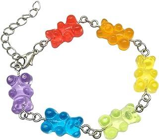 Xingsd, braccialetto speciale con orsetti gommosi, color arcobaleno, per donne e ragazze, alla moda