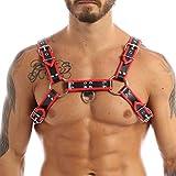 Agoky Herren Verstellbarer PU Leder Body Brust Harness Punk Gothic sexy Sklave Bandage Kostüme Party Klub Outfits Schwarz&Rot One_Size