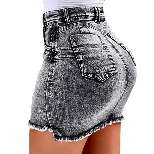 Koodred Women's Summer High Waisted Pencil Denim Jean Short Bodycon A-line Mini Skirt Grey