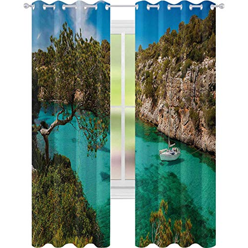 cortinas de la ventana, Pequeño Yate Flotante en Mallorca España Rocky Hills Bosque Árboles Vista Escénica, W52 x L84 Blackout Drape para Comedor, Verde Aqua Azul