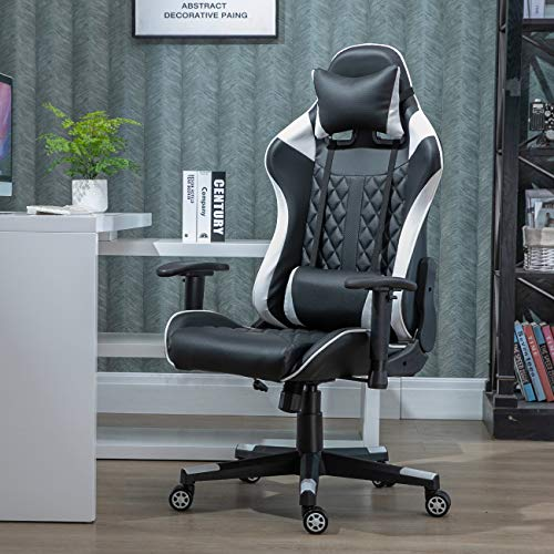 nozama Gaming Chair Recliner E-sports Chair Swivel Gaming Desk Chair with Headrest and Waist Cushion Adjustable Height Gaming Chair Adult Gaming Chair Leather Office Swivel Chairs (White)