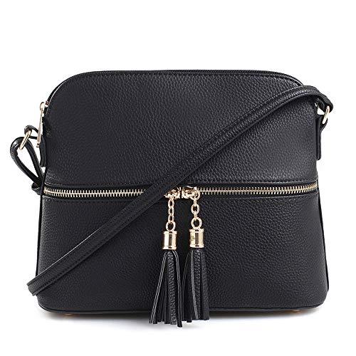 SG SUGU Lunar Lightweight Medium Dome Crossbody Bag Shoulder Bag with Double Tassels   Zipper Pocket   Adjustable Strap Black