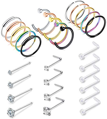 FIBO STEEL 29 Pcs 20G Stainless Steel Hoop Nose Rings for Men Women L Shaped Stud Piercing Jewelry CZ Inlaid