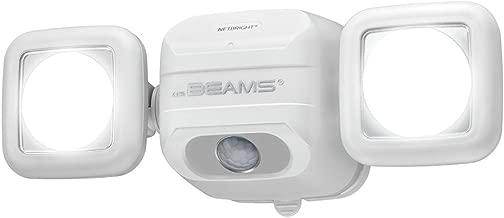Mr. Beams MBN3000 Netbright 500 Lumen High Performance Wireless Battery Powered Motion Sensing LED Dual Head Security Spotlight, White