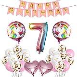 Yisscen Unicornio Decoración de Globos de Cumpleaños, Conjunto de Pancartas Látex Confeti Papel de Aluminio Numérico 7 Fiesta en Globo Usado para 7 Años Niña Suministros de Decoración para Fiestas