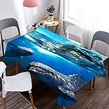 Mantel con Estampado de Delfines de Animales Marinos, Cubierta de Mesa de Comedor Rectangular Impermeable, Mantel de Fiesta de Cocina para Sala de Estar M-14 140x200cm