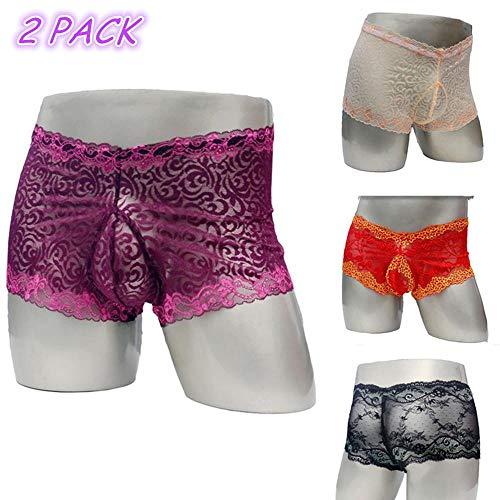 Sexy homo heren lingerie kanten ondergoed doorzichtig sissy slipje Sexy mannelijk ondergoed exotische slipje Lacework onderbroek, paars en naakt, one size