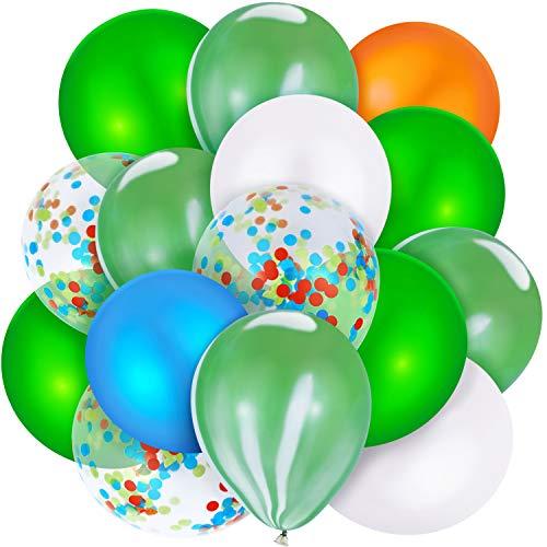 Hsei 60 Piezas Globos de Dinosaurio Globos de Látex de Ágata Verde Azul Naranja Globos de Confeti para Fiesta de Cumpleaños Boda Baby Shower de Selva