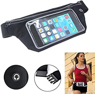 Sports Running Workout Waist Bag Belt Band Case Gym Pouch Cover Reflective Transparent Touch Screen [Black] Compatible with LG Stylo 4 - Motorola Moto E5 Plus - Nokia 3.1 Plus