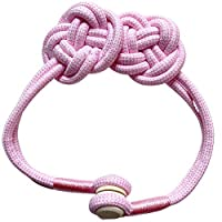 カーテンタッセル カーテン バックル 磁気 織りフラワー カーテン止め カーテンアクセサリー 房掛け シンプル プレゼント 便利な 人気 1個 ピンク
