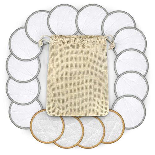 Stronrive 16 Pièces De Coton Réutilisables Tampons De Solvant De Maquillage, Tampon De Coton Lavable Double Face Lavable pour La Peau Sensible Cosmétiques Quotidiens