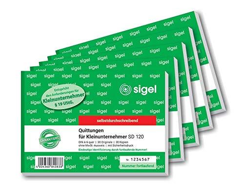 SIGEL SD120/5 Quittungsblock für Kleinunternehmer A6 quer, 2x30 Blatt, selbstdurchschreibend, 5 Stück