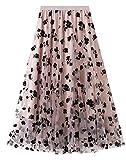 Maeau - Casual Falda Mujer Enagua Falda Tutú Múltiples Capas Elegante Falda Mujer Plisada Tul Larga Gasa Suave Cintura Elástico Alta Vestido Cancan Flores Bordado para Boda Cumpleaños Fiesta - Rosa