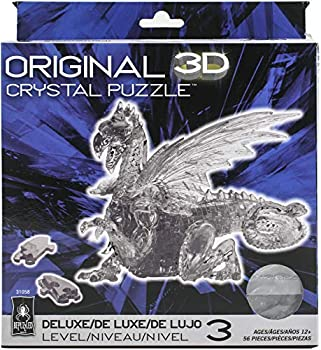 Bepuzzled Deluxe 3D Crystal Jigsaw Puzzle - Black Dragon DIY Assembly Brain Teaser Fun Model Toy Gift Decoration for Adults & Kids Age 12 & Up 56Piece  Level 3
