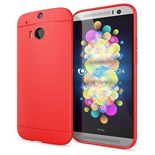 NALIA Handyhülle kompatibel mit HTC One M8 M8S, Ultra-Slim Case Cover, Dünne Punkte Schutzhülle, Etui Handy-Tasche Back-Cover Bumper, TPU Silikon-Hülle Smart-Phone - Mesh Rot