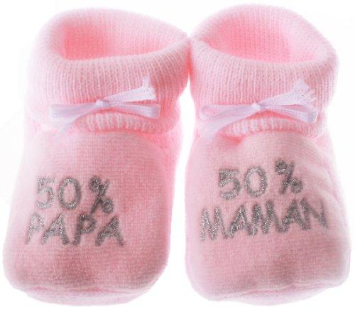 """Chaussons bébé brodés """"50%papa 50%maman"""" rose/argent 0/3mois"""