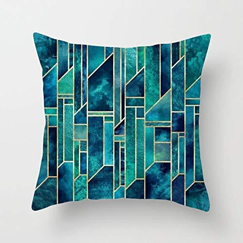 PPMP Funda de Almohada con diseño de Flores y Hojas Funda de cojín Verde Azul Funda de Almohada para decoración de sofá en casa Funda de Almohada para abrazar A17 45x45cm 2pc