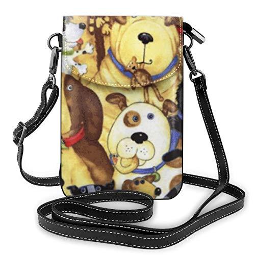 Goxegag Multifunktionale Leder Telefon Geldbörse, Leichte Kleine Schulter Umhängetasche Reisetasche Mit Verstellbarem Gurt Für Frauen-Süße Hundeaufkleber