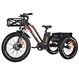 electric adult tricycle - Addmotor Motan Electric Tricycle 24 Inch Fat Tire Electric Trike 3 Big Wheel 750W Rear Basket Cargo Ebikes 14.5Ah Lithium Battery for Adults Seniors M-350-P7 Bicycle with Suspension Fork(8 Day Ship)