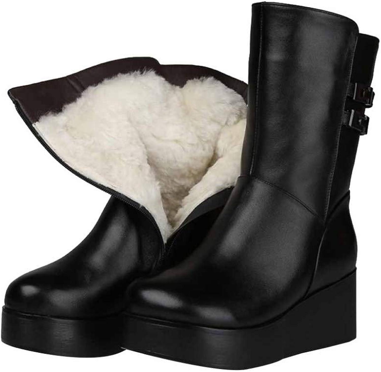 Damen Komfortable Anti-Slip Martin Stiefel Lederstiefel Pelzgefütterte Warme Schneestiefel Mit Biker-Stiefel