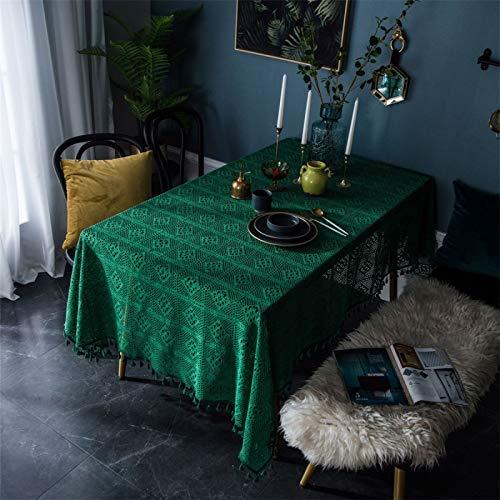 CCBAO Tejido A Mano De Encaje De Algodón Estilo Retro Verde Rectangular Hogar Hotel Mantel Decorativo Mantel De Café 140x180cm