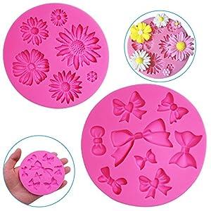 FineGood - Moldes decorativos de silicona para tartas (2 unidades), diseño de flor de crisantemo y pajaritas, para chocolate, fondant, azúcar, jabón, decoración, moldes para tartas, color rosa