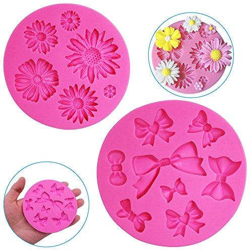 FineGood - Moldes decorativos de silicona para tartas (2 unidades), diseño de...