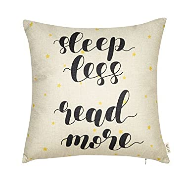 Fjfz Sleep Less Read More Educational Inspirational Quote Cotton Linen Home Decorative Throw Pillow Case Cushion Cover with Words for Book Lover Worm Sofa Couch, Yellow Star and Black, 18  x 18