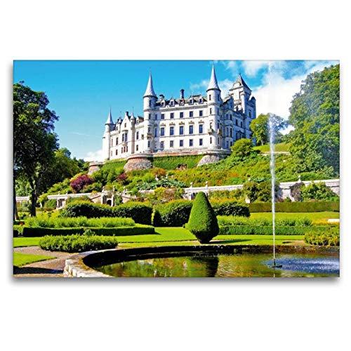 Premium textiel canvas 120 cm x 80 cm dwars, het witte slot Dunrobin Castle met zijn vele kleine deurmjes, Erkern en ramen | wandafbeelding. Verenigd Koninkrijk (CALVENDO plaatsen);CALVENDO plaatsen