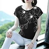 DYXYH Nueva Primavera Verano Casual Camisa Camisa Tops de algodón de Manga Suelta impresión Floral Blusa Femenina tamaño (Color : Black, Size : XL Code)
