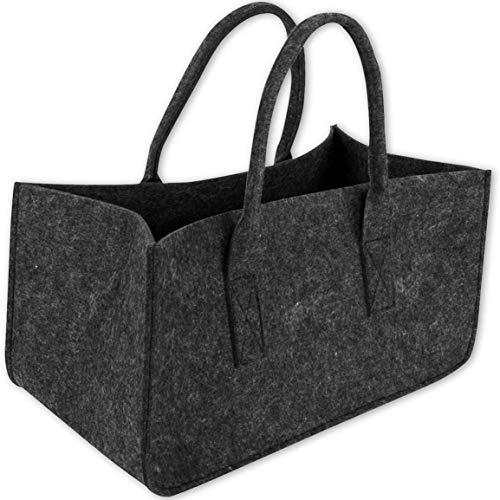 Fontsime 耐久性のある不織布薪ストーブ収納袋フェルトダブルハンドルオープニング収納袋