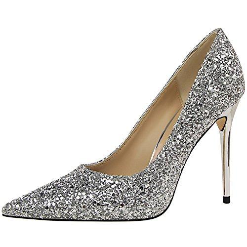 BIGTREE Spitze Zehen Damen Kleid Pumps Sexy Glänzend Pailletten Hochzeit Pumps Silber 39 EU