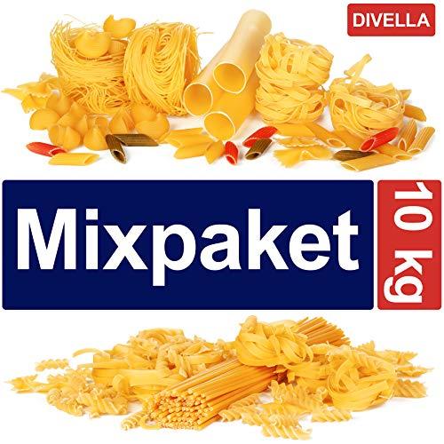 10 kg Nudeln verschiedene Sorten von Divella Spaghetti penne Fusilli Fettuccine Eclicoidali Sgambaro Elicoidali Mixpaket Vorratspaket