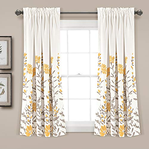 "Lush Decor Aprile Room Darkening Window Curtain Panel Pair, 63"" x 52"", Yellow & Gray"
